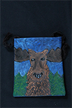 happy moose hand painted purse